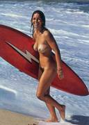 Laura Blears, champion surfer, 1975