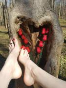 Love Day feet at the park- I found a heart shaped tree!
