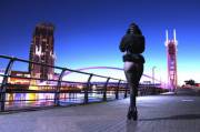 A cold morning on Salford Quays. High-heeled ankle boots and patterned tights. Dexi Delite xx