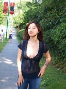 Milf outdoors see through top