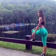 Yovanna Ventura in teal yoga pants