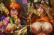Velma and Daphne getting into a sticky mess (doodlexxx) [Scooby-Doo]
