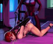 "Commander Shepard's slave training, at the ""hands"" of a horse-cocked futa Asari (aka6)"