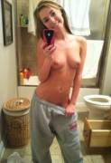 Topless and sweatpants
