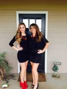 Clothed mom daughter