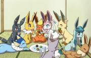 Eevee [M] helping out his Eeveelution [F] sisters