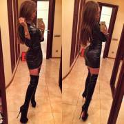 Leather dress, leather boots