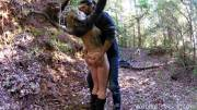 Hot CMNF kissing in the wood