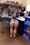 (f) thick blonde milf upskirt at Walmart