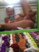 Hot Blonde Spreading For The Mirror