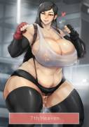 Tifa preparing 7th Heaven (donaught/jujunaught) [Final Fantasy]