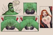 Black Widow and Hulk in an artists' depiction of 'that' gif (DevilHS) [Marvel]