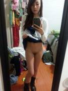 Skirt up in the mirror xpost /r/asianslutsclub