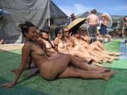 Nice nude lineup at Burning Man