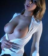Burst out of her shirt
