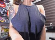 Revealing and sucking on her amazing tits