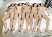 Five girls napping naked