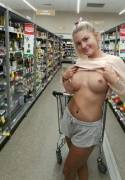 Just a casual pierced tits flash in supermarket