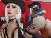 Ashe from Overwatch lewd cosplay by Felicia Vox