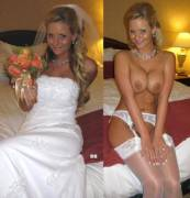 In & out of her dress