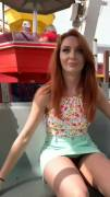 Redhead flashing on Ferris wheel