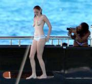 Lily Cole topless on a yacht