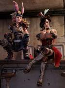 Moxxi squeezes her boobs as adult Tina observes (Garean)