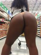 black girl flashing in a supermarket