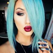 Blue hair, red lips