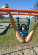 Andi Land on the monkey bars