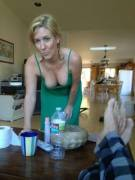 Mom doesn't understand why anyone would want to take a photo of her while she's cleaning
