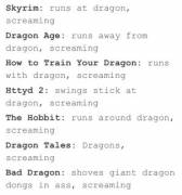 Dragons and screaming
