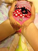 Little Angel showing off her new panties for Daddy