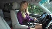 Milf drives around with a surprise under her skirt