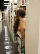 Peeking out of the stacks