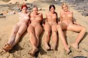 Lying Naked on the Beach with Her Friends (via /r/lineups)