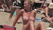 Beautiful blonde Topless Beach