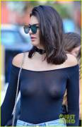 Kendall Jenner see thru top in NYC