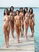 6 girls on a pier