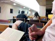 Student with an uncut cock busting a ballsy load in the library [GIF]