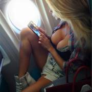 Terrific airplane cleavage :) [xpost /r/Titties]