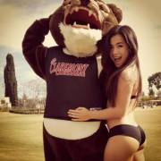 Mascot and hot girl
