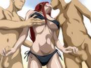 Erza getting warmed up to take two studs on the beach.