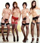 Four topless Asian babes in panties and Fishnets