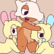 Cubone [M] Getting a Rim and Blowjob from Plusle and Minun [??]