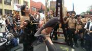 A lovely girl being tied up at Folsom Street Fair today :)