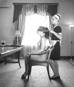 Blindfolded by the maid