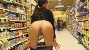 No Shame Brunette Showing Her Goods on the Coffee Aisle...
